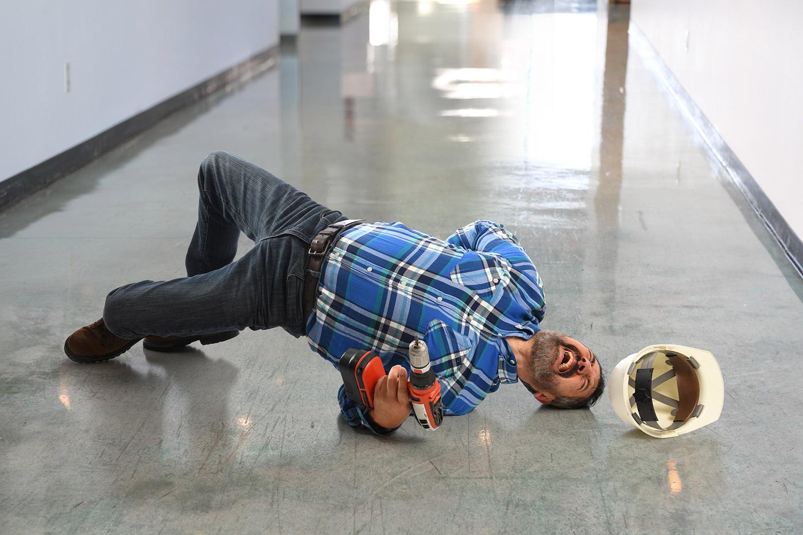 man falling on floor